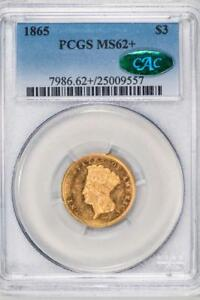 Click now to see the BUY IT NOW Price! 1865 $3 PCGS MS62  CAC INDIAN PRINCESS HEAD ITEMM1289