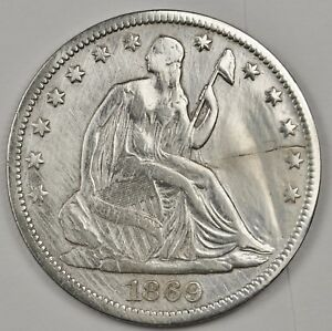 1869 S SEATED LIBERTY HALF.  V.F. DETAIL.  117086