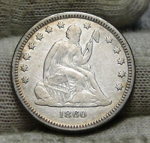 1860 O SEATED LIBERTY QUARTER 25 CENTS   KEY DATE 388 000 MINTED NICE  5888