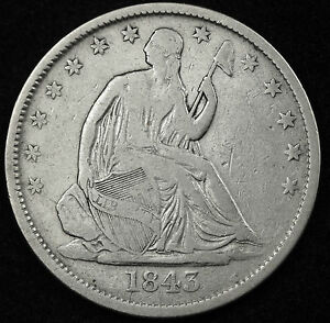 1843 O SEATED LIBERTY HALF.  FINE.  89815