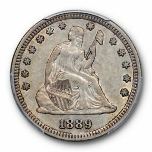 1889 25C LIBERTY SEATED QUARTER PCGS AU 50 ABOUT UNCIRCULATED KEY DATE TOUGH