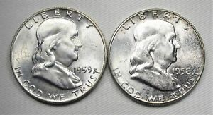 LOT OF 2 1958 P & 1959 D FRANKLIN HALF DOLLARS CH UNC COINS AE729