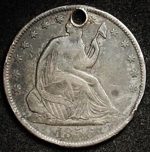 1856 O SEATED LIBERTY HALF.  X.F. DETAIL.  HOLED.  106782