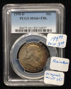 1958 D FRANKLIN SILVER HALF DOLLAR PCGS MS66  FBL FROM ORIGINAL MINT SET/RAINBOW