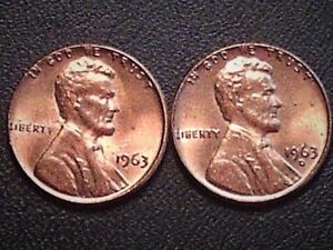 LOT OF TWO LINCOLN CENTS 1963 P &  1963D  AU/BU