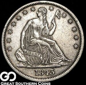 1843 O SEATED LIBERTY HALF DOLLAR BETTER DATE AU NEW ORLEANS ISSUE
