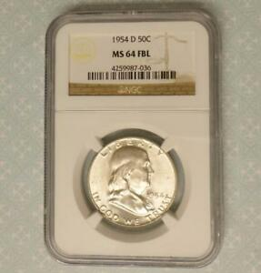 1954 D NGC MS 64 FBL SILVER FRANKLIN HALF DOLLAR MS 64 FULL BELL LINE COIN