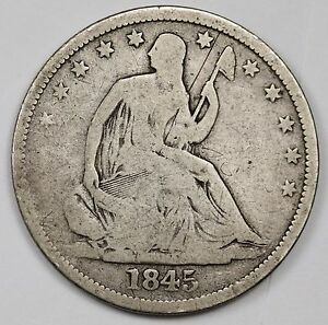 1845 D SEATED LIBERTY HALF.  V.G.  112907