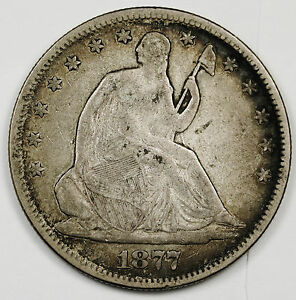 1877 LIBERTY SEATED HALF.  NATURAL V.F.  96285