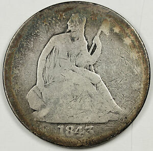 1843 O SEATED LIBERTY HALF.  GOOD.  91180