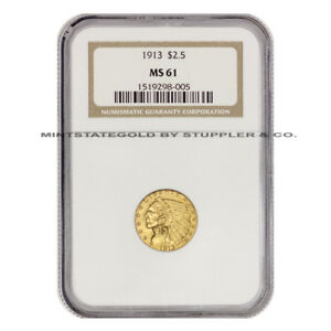 1913 $2.50 INDIAN NGC MS61 UNCIRCULATED GOLD QUARTER EAGLE CHOICE GRADED COIN