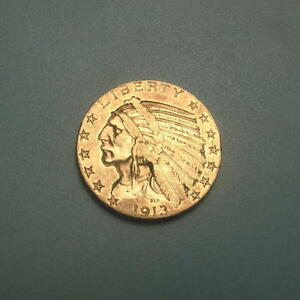 1913 S GOLD $5 INDIAN HEAD HALF EAGLE COIN   AU
