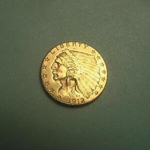 1912 GOLD $2.5 INDIAN HEAD QUARTER EAGLE COIN $2 1/2       175