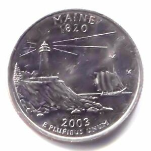 MAINE LIGHTHOUSE STATE QUARTER 2003 D COIN   DENVER MINT