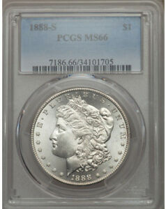 Click now to see the BUY IT NOW Price! 1888 S MORGAN SILVER $ PCGS MS66    $7000  VALUE   VAM 6A TOP POP 1/1