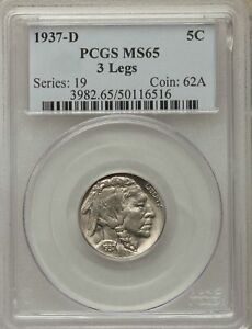 Click now to see the BUY IT NOW Price! 1937 D US BUFFALO NICKEL 5C   THREE LEGGED   PCGS MS65