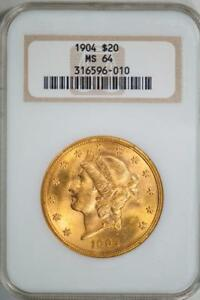 1904 NGC MS64 $20 GOLD LIBERTY DOUBLE EAGLE IN OLD