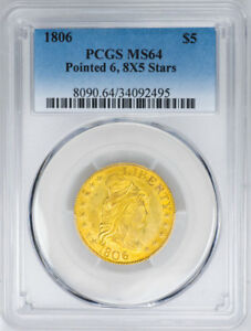 Click now to see the BUY IT NOW Price! 1806 $5 DRAPED BUST POINTED 6 8X5 STARS HALF EAGLE   PCGS MS64   US  COIN