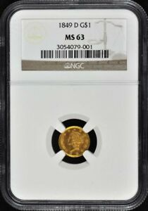 Click now to see the BUY IT NOW Price! 1849 D GOLD DOLLAR   TYPE 1 G$1 NGC MS63