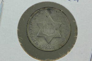 1852 3 CENT SILVER TRIME VG PUNCHED