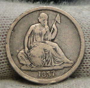 1837 SEATED LIBERTY DIME 10C    NICE COIN   7117