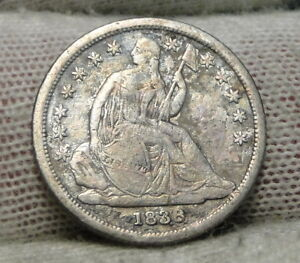 1838 SEATED LIBERTY DIME 10C    NICE COIN   7182