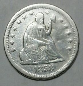 1858S SEATED LIBERTY SILVER QUARTER COIN 25 LOT MZ 4699