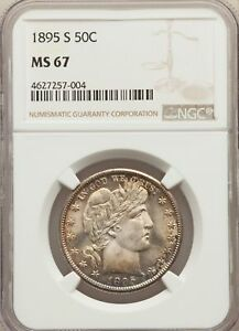 Click now to see the BUY IT NOW Price! 1895 S US SILVER 50C BARBER HALF DOLLAR   NGC MS67