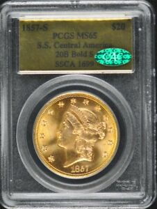 Click now to see the BUY IT NOW Price! 1857 S S.S. CENTRAL AMERICA $20 GOLD T 1 LIBERTY PCGS MS65 CAC 20B BOLD S