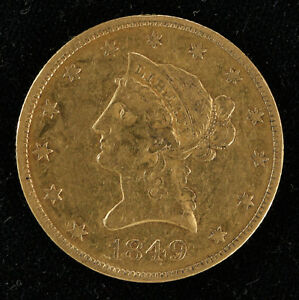 1849 LIBERTY HEAD GOLD EAGLE $10 COIN XF EXTRA FINE TYPE 2 NO MOTTO  4572.5