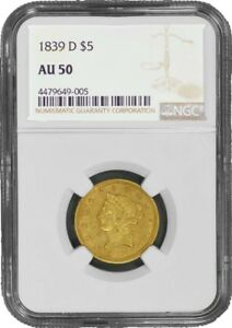 Click now to see the BUY IT NOW Price! 1839 D HALF EAGLE   NO MOTTO $5 NGC AU50