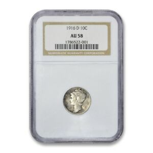 Click now to see the BUY IT NOW Price! 1916 D MERCURY DIME 10C NGC AU 58 ABOUT UNCIRCULATED TO MS KEY DATE DECENT BANDS