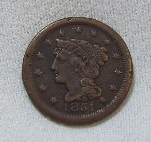 BARGAIN 1851 BRAIDED HAIR LARGE CENT EXTRA FINE 1C