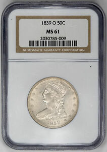 Click now to see the BUY IT NOW Price! 1839 O 50C CAPPED BUST HALF DOLLAR   TYPE 3 REEDED EDGE   NGC MS61