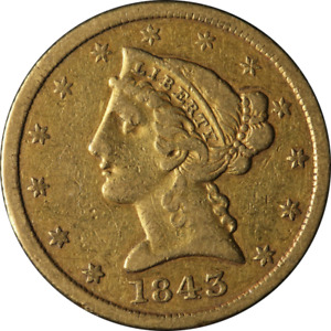 1843 P LIBERTY GOLD $5 NO MOTTO CHOICE VF GREAT EYE APPEAL NICE STRIKE