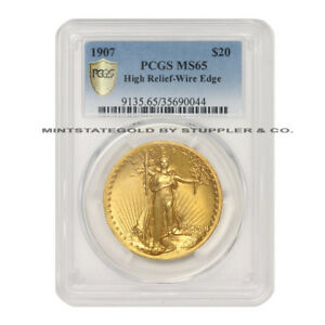 Click now to see the BUY IT NOW Price! 1907 $20 SAINT GAUDENS PCGS MS65 HIGH RELIEF WIRE EDGE/RIM GOLD DOUBLE EAGLE GEM