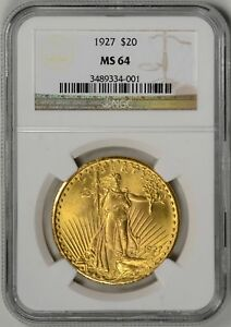 1927  $20 ST. GAUDENS GOLD NGC MS64     3489334 001
