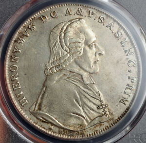 Click now to see the BUY IT NOW Price! 1802 SALZBURG COUNT HIERONYMUS COLLOREDO. SILVER THALER COIN. PCGS AU 53