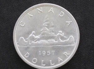 Click now to see the BUY IT NOW Price! 1957 BU CANADA SILVER DOLLAR ELIZABETH II CANADIAN COIN D7132