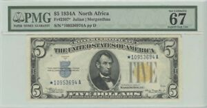 Click now to see the BUY IT NOW Price! 1934A $5 N. AFRICA PMG 67 SUPERB GEM UNC FR2307  STAR NOTE