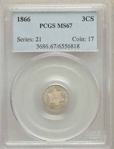 Click now to see the BUY IT NOW Price! 1866 US SILVER THREE CENT PIECE   PCGS MS67