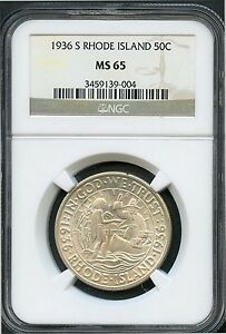1936 S 50C MS 65 RHODE ISLAND NGC  BU UNCIRCULATED  COMMEMORATIVE HALF DOLLAR