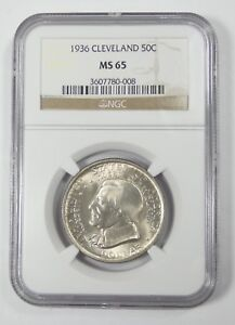 1936 CLEVELAND CENTENNIAL/GREAT LAKES EXPO COMM SILVER HALF DOLLAR NGC MS 65