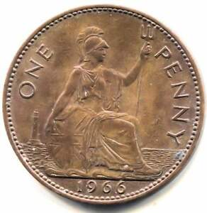 GREAT BRITAIN 1966 LARGE ONE PENNY COIN   UNITED KINGDOM ENGLAND QUEEN ELIZABETH