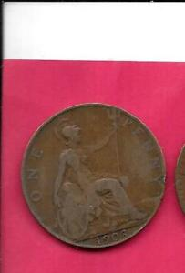 GREAT BRITIAN GB UK KM794.2 1908 FINE NICE LARGE OLD ANTIQUE BRONZE PENNY COIN