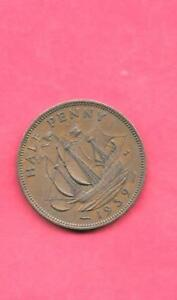 GREAT BRITAIN GB UK KM844 1939 VF VERY FINE NICE OLD VINTAGE USED 1/2 PENNY COIN