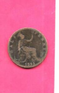 GREAT BRITAIN GB UK KM754 1893 VG VERY GOOD NICE OLD ANTIQUE 1/2 PENNY COIN