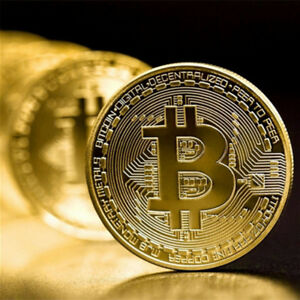 BITCOIN COMMEMORATIVE ROUND COLLECTORS COIN BIT COIN IS PLATED GOLD NON CURRENCY