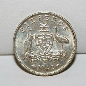 1942 D AUSTRALIA SIXPENCE SILVER COIN