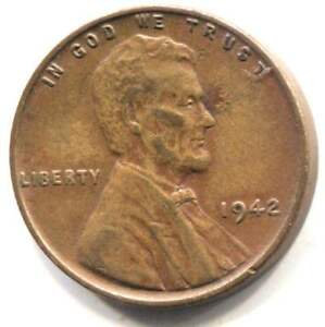 U.S. 1942 LINCOLN WHEAT PENNY   AMERICAN ONE CENT COIN   PHILADELPHIA MINT
